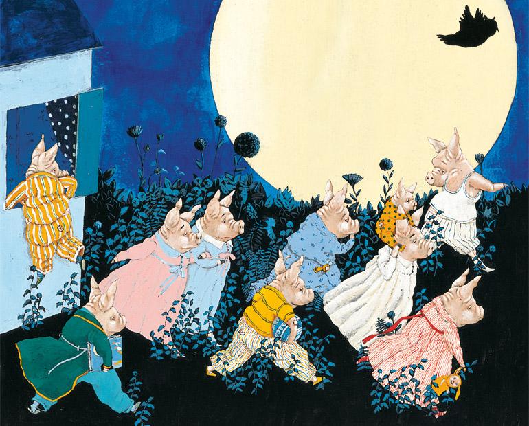 Dix cochons sous la lune